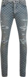 Amiri Clay Indigo Laser Check Thrasher Plus Jeans