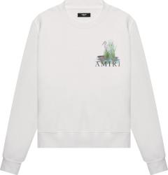 Amiri Crane Print White Sweatshirt