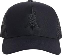 Dagger Embroidered Black Trucker Hat