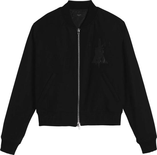 Amiri Dagger Embroidered Black Bomber Jacket