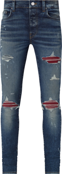 Amiri Deep Classic Indigo And Red Suede Underpatch Repair Jeans