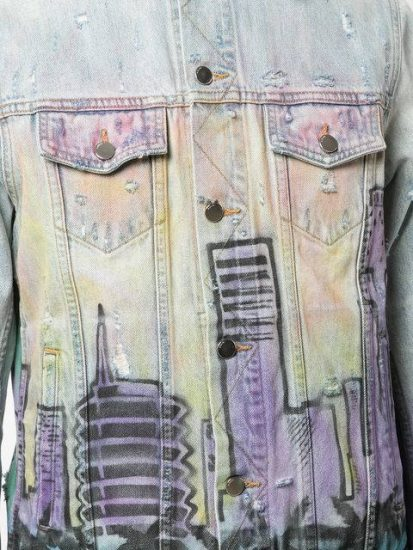 Amiri Denim Jacket With Blue And Purple Print Buildings Outlined In Black