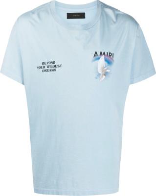 Amiri Dove Print Light Blue T Shirt
