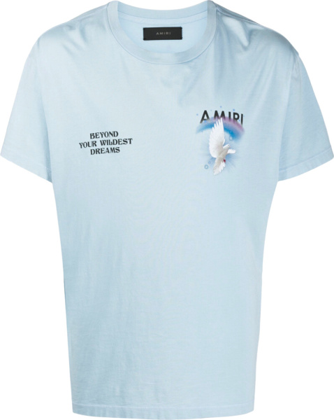 Amiri Dove Print Light Blue T Shirt