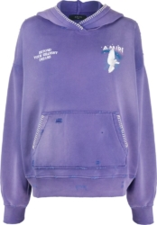 Amiri Dove Print Purple Hoodie