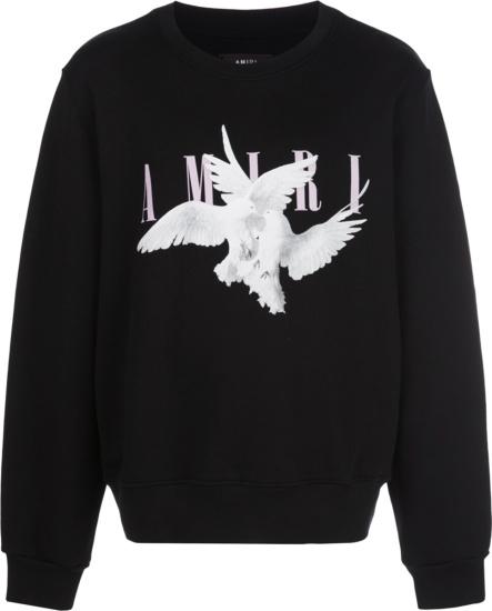 Amiri Doves Print Black Sweatshirt