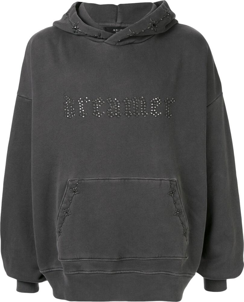 'Dreamer' Embellished Grey Hoodie