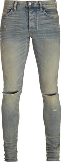 Amiri Dust Blue Slash Jeans