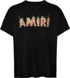 Amiri Flame Logo Print Black T Shirt