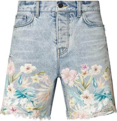Amiri Floral Embroidered Denim Shorts
