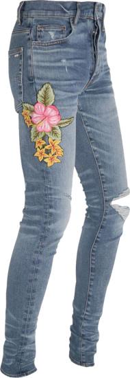 Amiri Flower Patch Broken Jeans