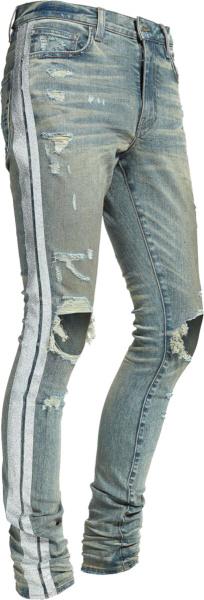 Amiri Glitter Stripe Dirty Indigo Jeans