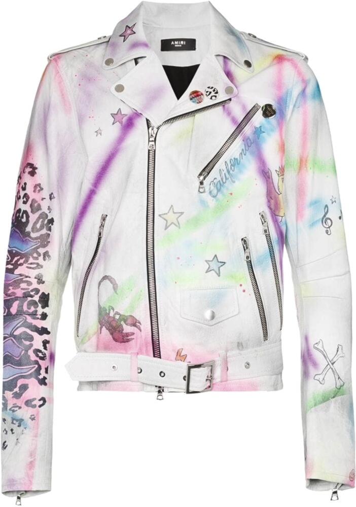Amiri Graffiti Print White Leather Jacket