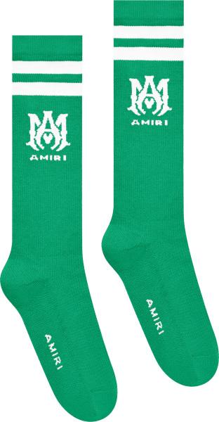 Amiri Green And White Ma Logo Striped Socks