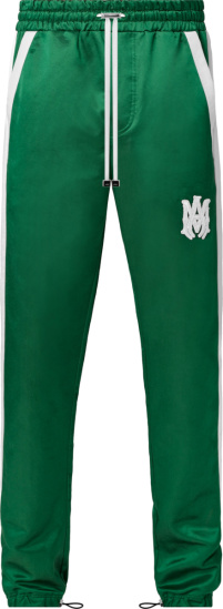 Amiri Green And White Stripe Satin Trackpants