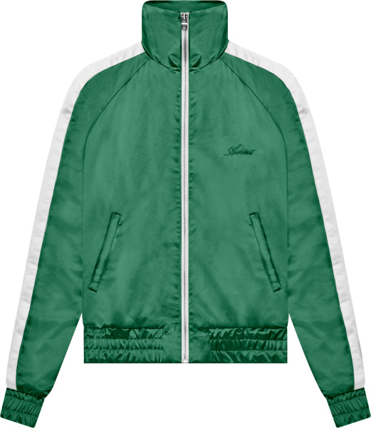 Amiri Green And White Striped Satin Track Jacket