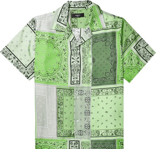 Amiri Green Bandana Patchwork Shirt