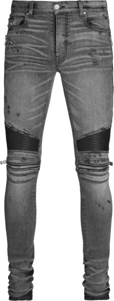 Amiri Grey And Black Leather Panel Mx2 Biker Jeans