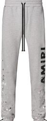 Amiri Grey Paint Splatter And Vertical Logo Sweatpants