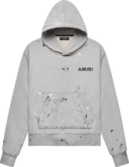 Amiri Grey Paint Splatter Distressed Logo Print Hoodie