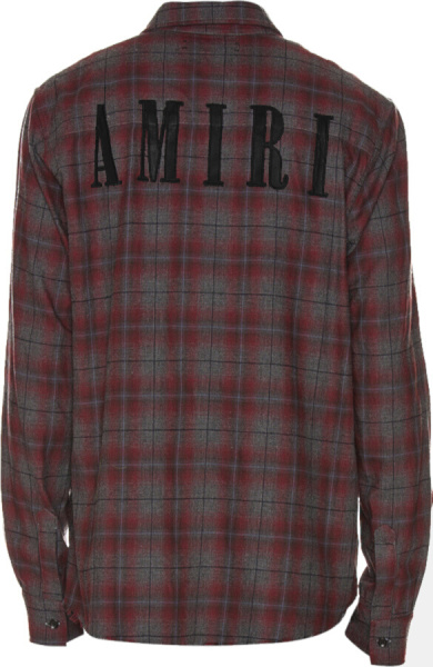 Amiri Grey Red Flannel Check Logo Shirt