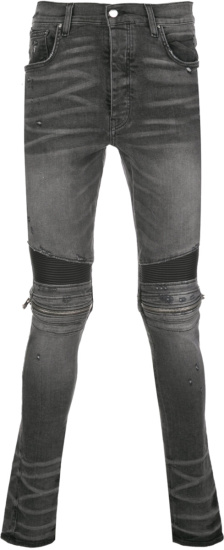 Amiri Grey Zip Detail 'mx2' Biker Jeans