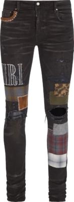 Amiri Grunge Patch Black Denim Jeans