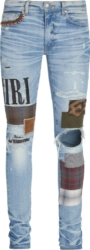 Amiri Grunge Patch Light Wash Jeans