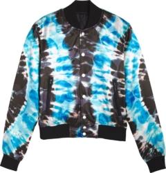 Amiri Heart Print Blue Tie Dye Bomber Jacket