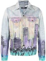 'Hollywood' Print Denim Jacket