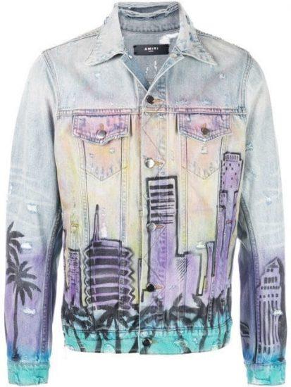 Amiri Hollywood Printed Denim Jacket Worn By Lil Baby