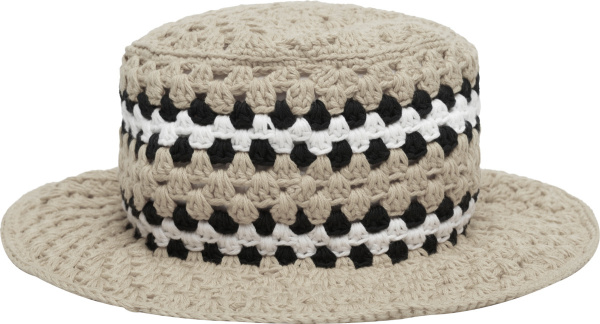 Amiri Ivory And Black Crochet Bucket Hat