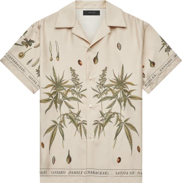 Amiri Ivory Botanical Print Hawaiian Shirt