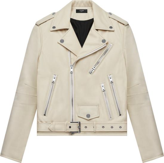Amiri Ivory Leather Perfecto Biker Jacket