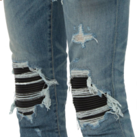Distressed Leather Patch Jeans