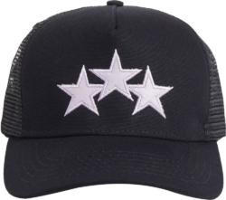 Lavender Star Patch Black Trucker Hat