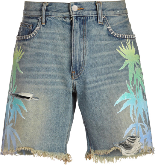 Amiri Leaft Print Distressed Denim Shorts