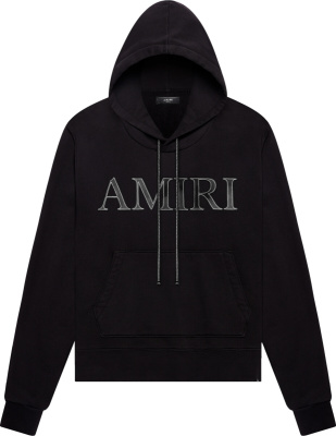 Amiri Leather Logo Patch Black Hoodie
