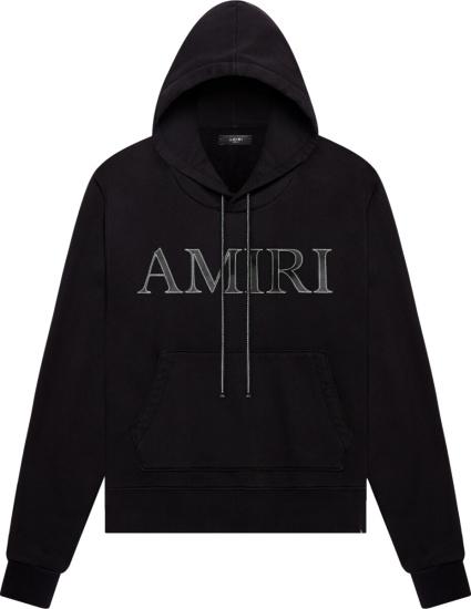 Amiri Leather Logo Patch Black Hoodie
