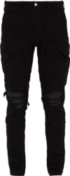 Amiri Leather Underpatch Black Cargo Pants