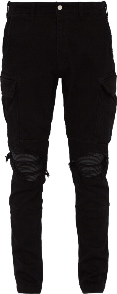 Red Side-Stripe Black Cargo Pants