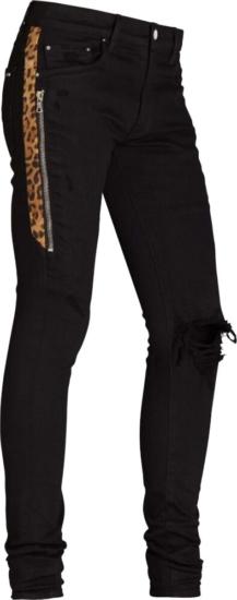 Amiri Leopard Half Stripe Black Jeans