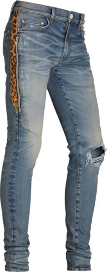 Amiri Leopard Half Stripe Light Jeans