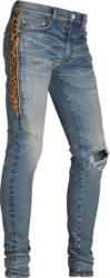 Leopard Half-Stripe Broken Black Jeans