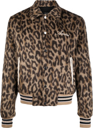 Amiri Leopard Print Varisty Bones Jacket