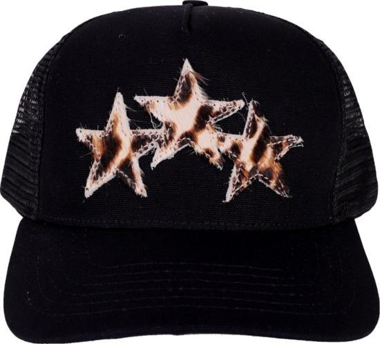 Amiri Leopard Stars Black Trucker Hat