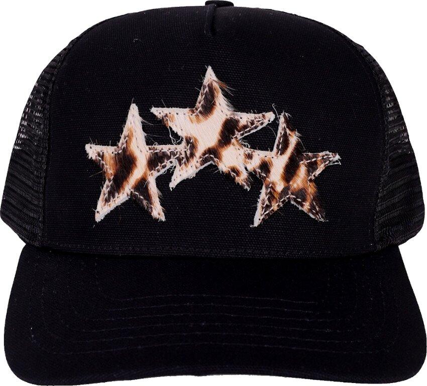 'Leopard Star' Embroidered Black Trucker Hat