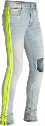 Amiri Light And Yellow Stripe Broken Jeans