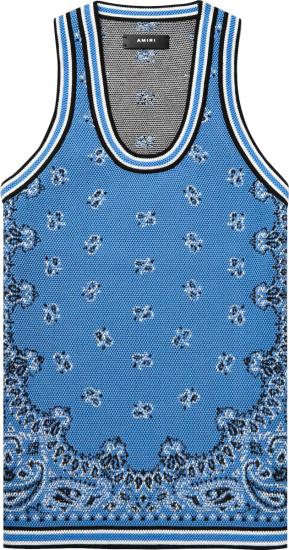 Amiri Light Blue Bandana Crocheted Tank Top