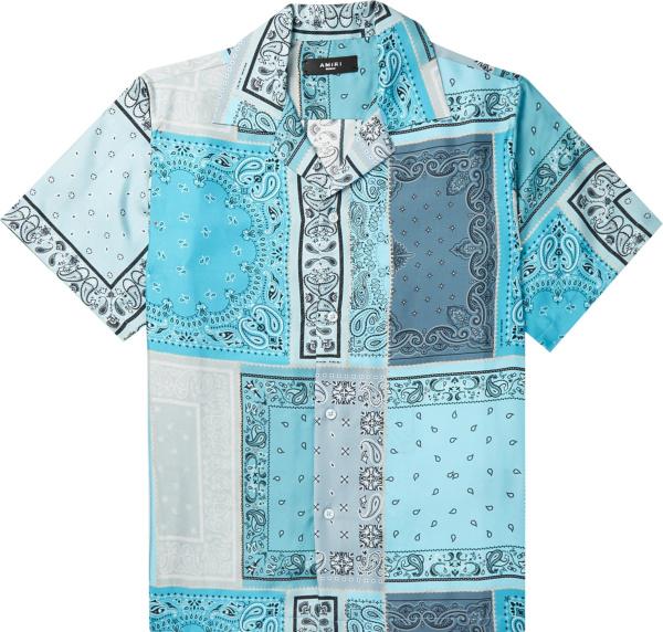 Amiri Light Blue Bandana Patchwork Shirt